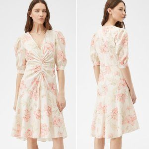La Vie Rebecca Taylor Peonies Poplin Ruched Dress